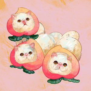 Peach Cats - Catwheezie's Print Gallery
