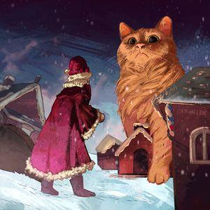 Yule Cat vs Santa Claus - Catwheezie's Print Gallery