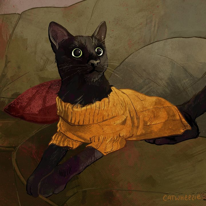 Wearing of the Yellow Sweater - Catwheezie's Print Gallery