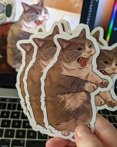 Big Yawn! 4x4 Cat Vinyl Sticker - Catwheezie's Print Gallery