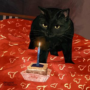 Birthday Black Cat - Catwheezie's Print Gallery