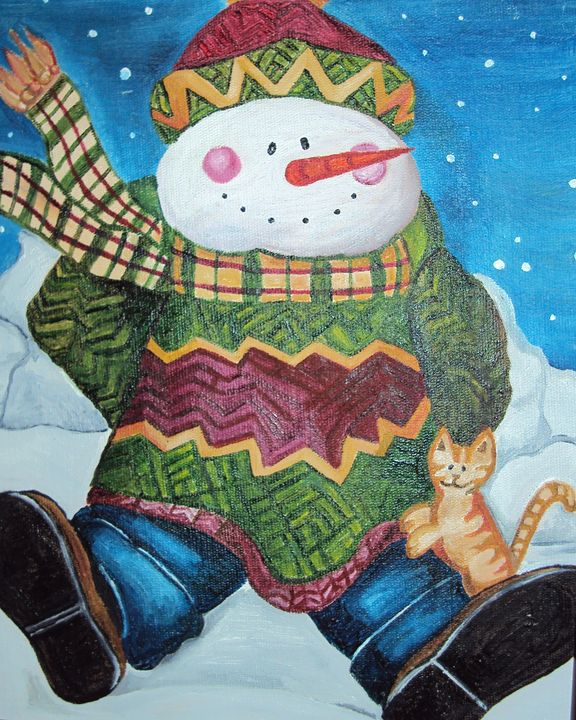 Snowman and cat - Carolina Victoria