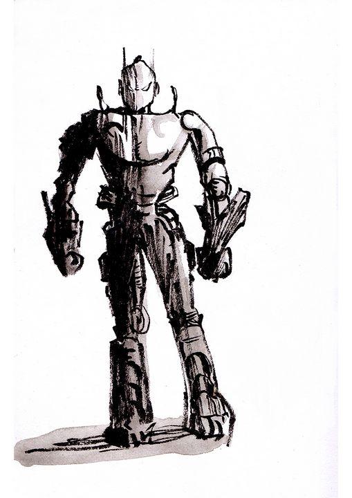 Robot ink drawing - John Bucknall