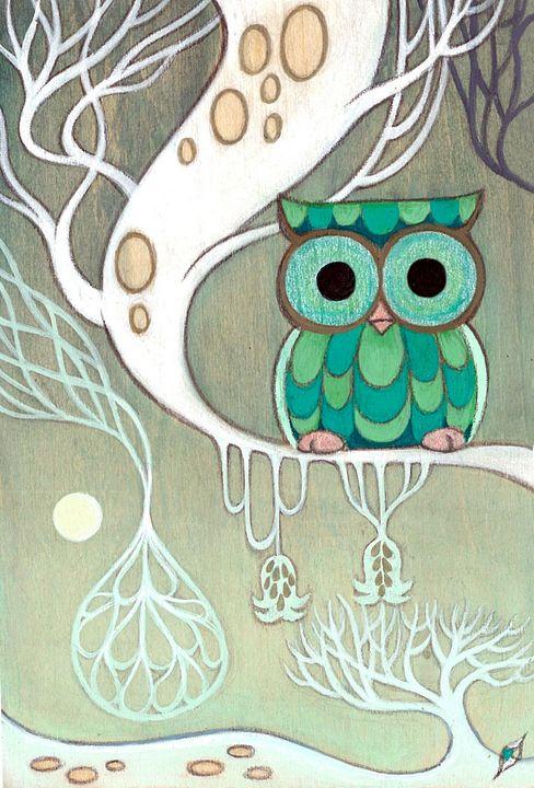 Snow Owl - Moss Moon Studio