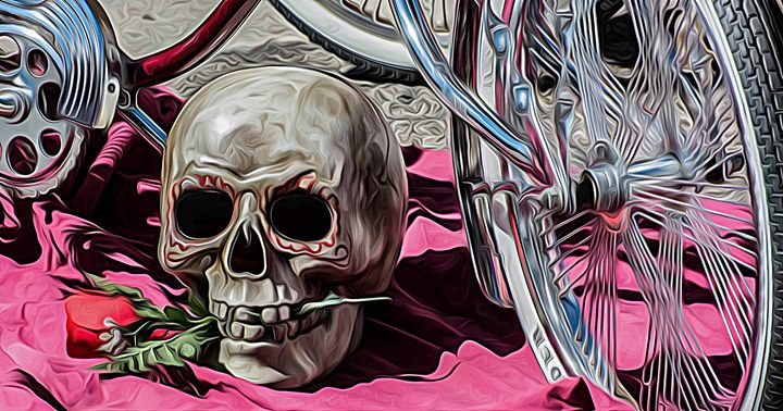 Skull with Rose - Michael Moriarty Photography