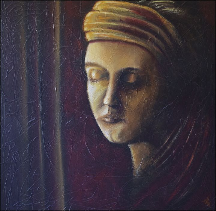 The orange scarf-portrait lady - Remy Grenier