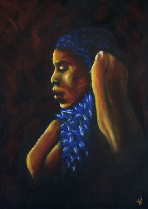 The Boa scarf-lady portrait - Remy Grenier