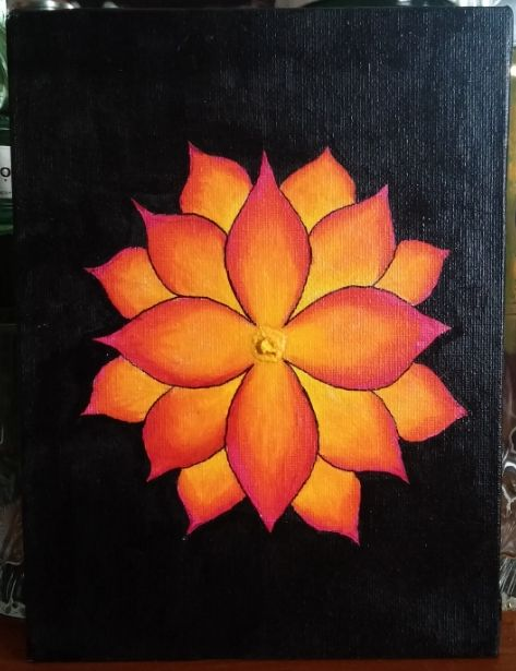 Pink and orange flower - Art at home