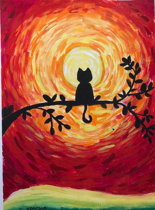 Sunset Cat - Tinyrainbow