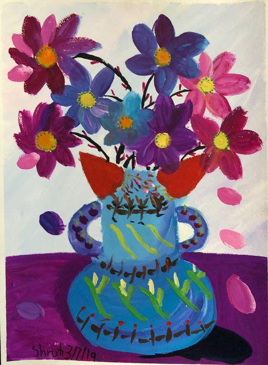 flowers in a cat vase - Tinyrainbow
