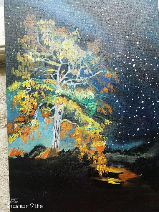 night sky with trees - Artiste