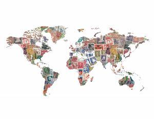 Vintage Stamp World Map