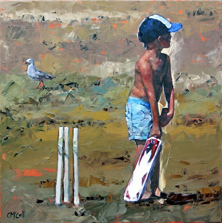 Beach Cricketer - ClaireMcCallArt