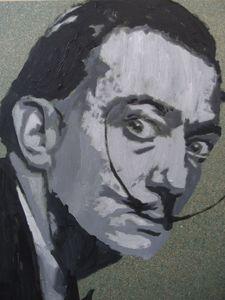 Salvador Dali acrylic on wood