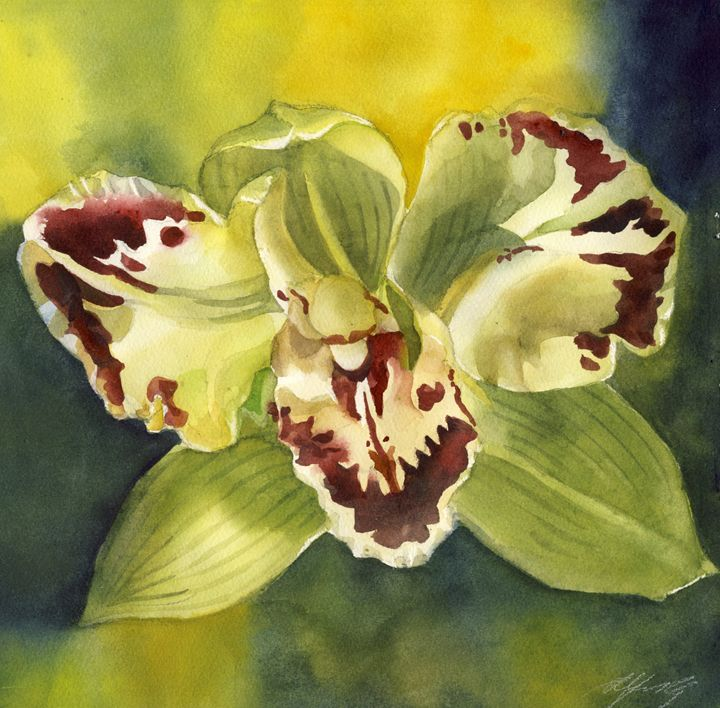 green orchid with yellow - floral watercolor