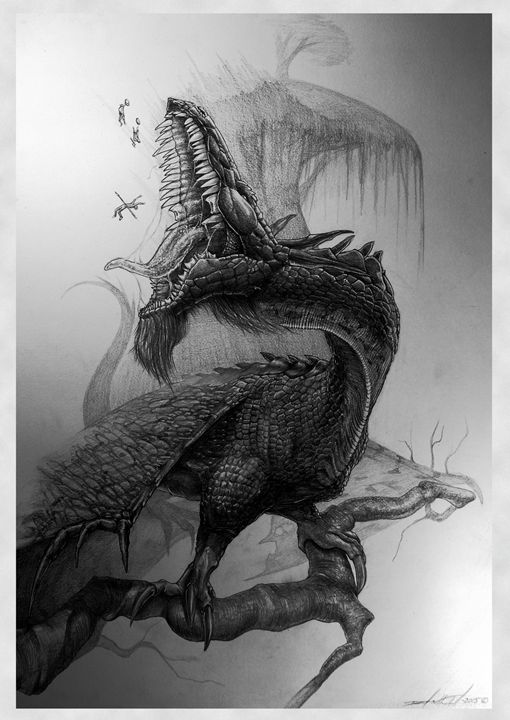 Nidhögg The Dragon Of Death - Mixed Art