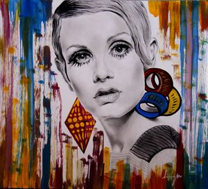 Twiggy portrait sketch & acrylic