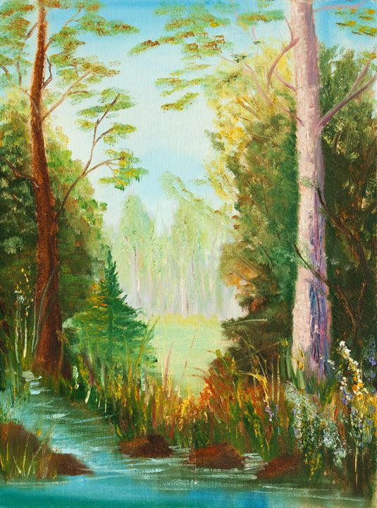 original oil painting, lake view - LeoVart