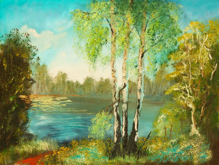 original oil painting - tree briches - LeoVart