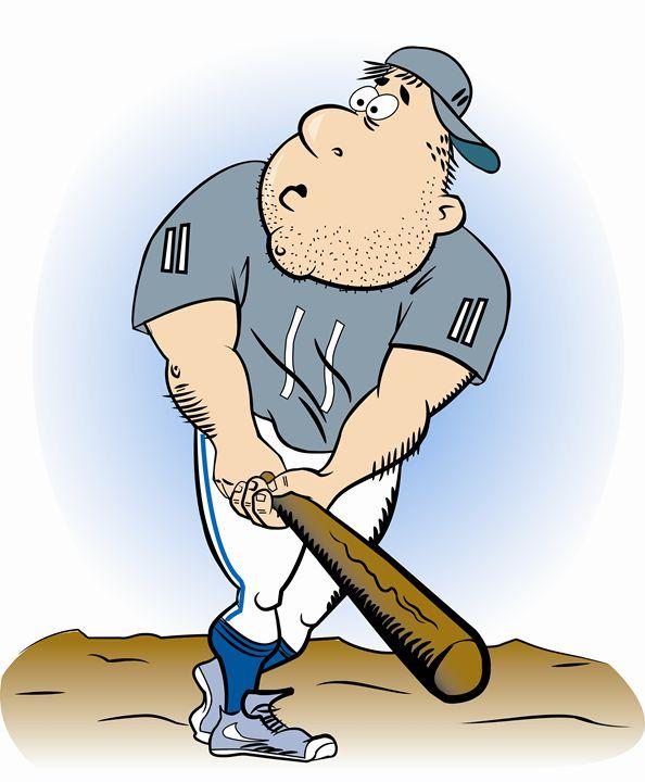 Cartoon Baseball Player One - Dave's Cartoons