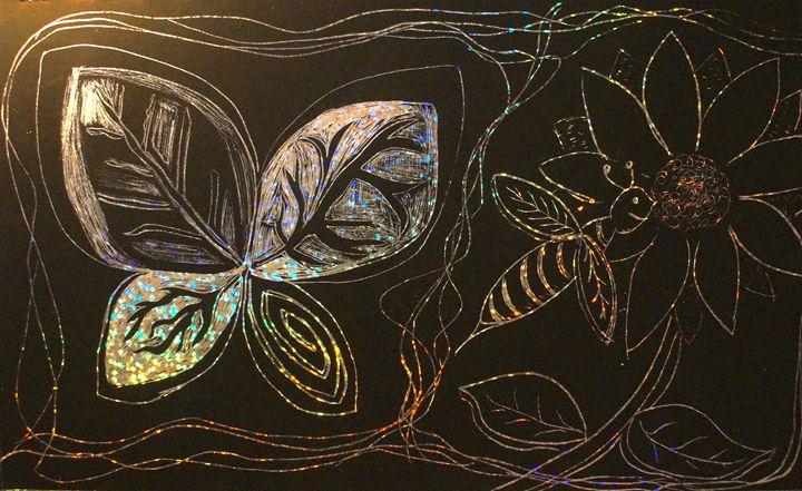 Butterfly & Bee - Aaron's Artwork