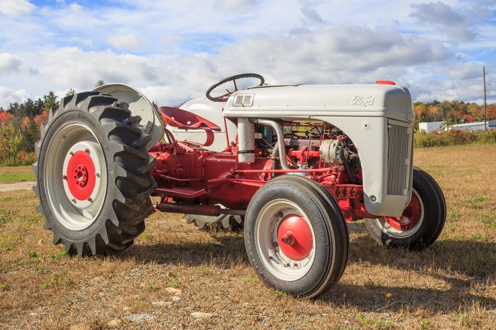 Old Red and White Ford Farm Tractor - Dogford Studios