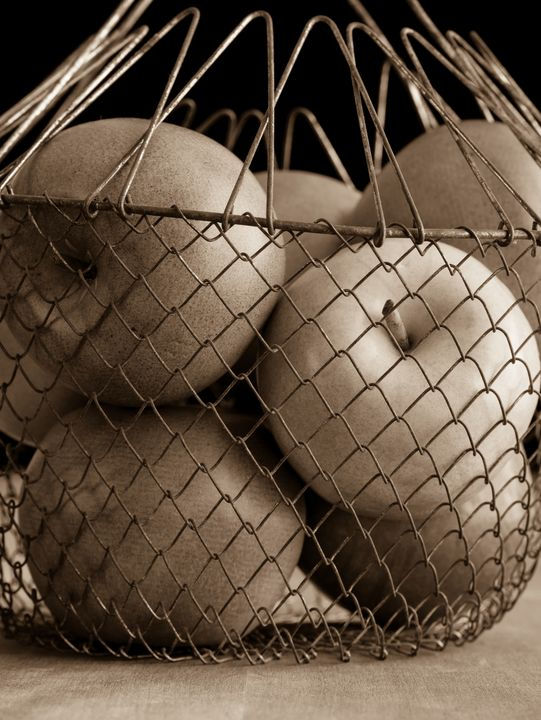 Apples in a wire basket sepia toned - Dogford Studios