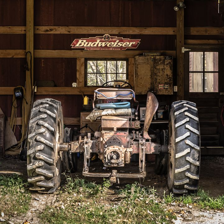 Old Tractor in the Barn Vermont - Dogford Studios