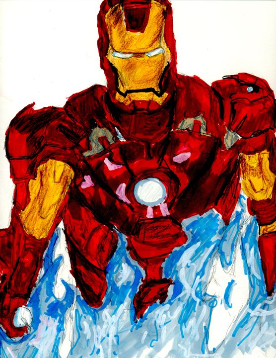 Iron Man Blue Fire - Soccerartist10