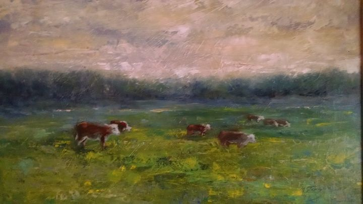 Hereford heffers - mstanish painting and sculpture