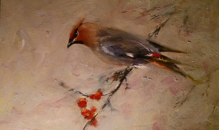 Cedar Waxwing - mstanish painting and sculpture