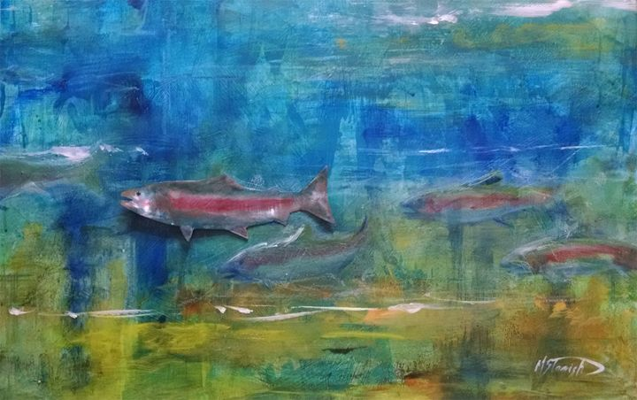Trout Fishing in America - mstanish painting and sculpture
