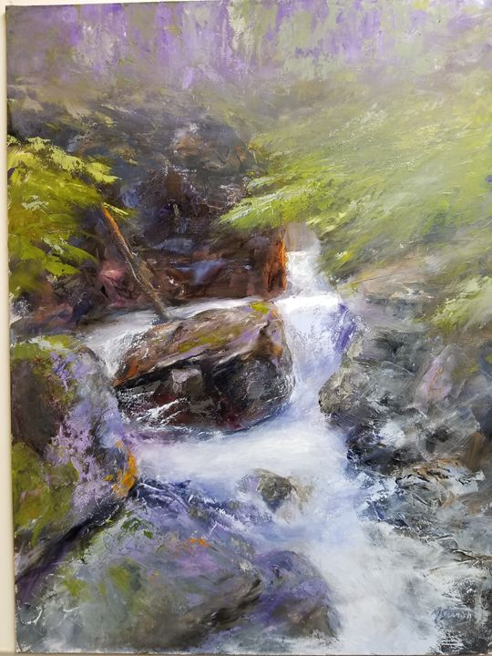 Water Ouzel, Glacier Park - mstanish painting and sculpture
