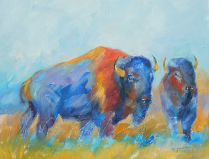 Bison - mstanish painting and sculpture