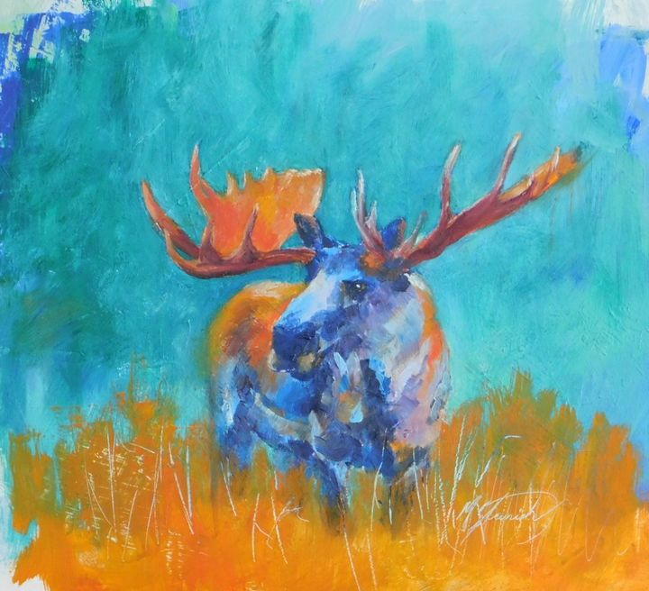 Rock Creek Moose - mstanish painting and sculpture