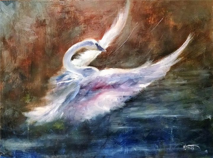 Trumpeter Swan - mstanish painting and sculpture