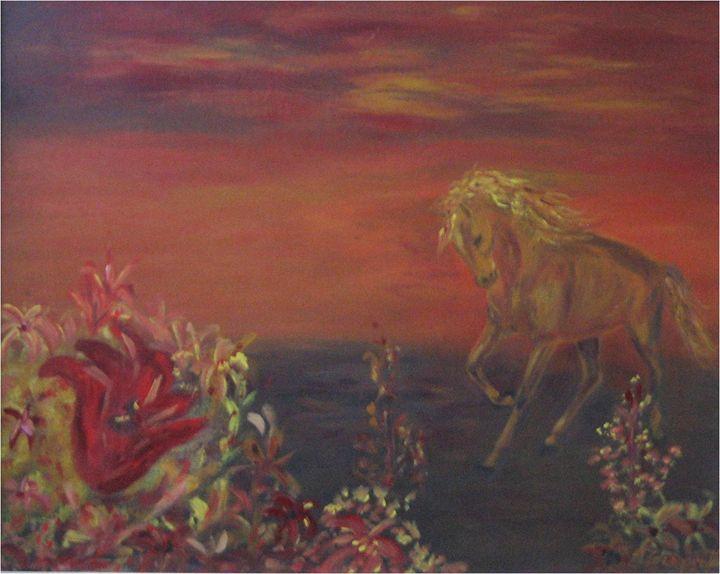 Horse in a field - Elisabeth Tsikritzi