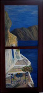 Window into Santorini Island