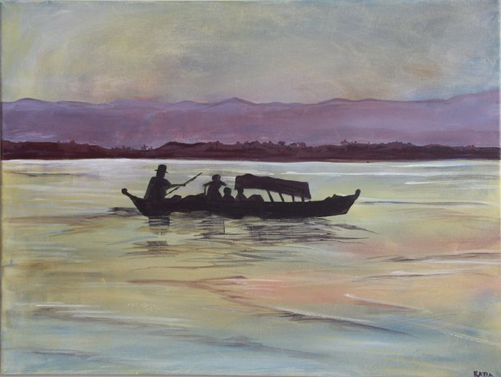 Sunset Boat   (A012) - KATIA-ART