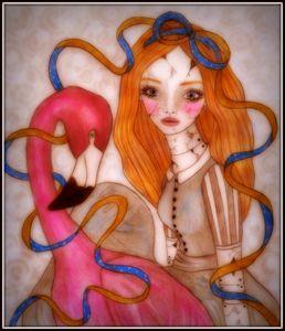 Broken Doll Alice & Flamingo