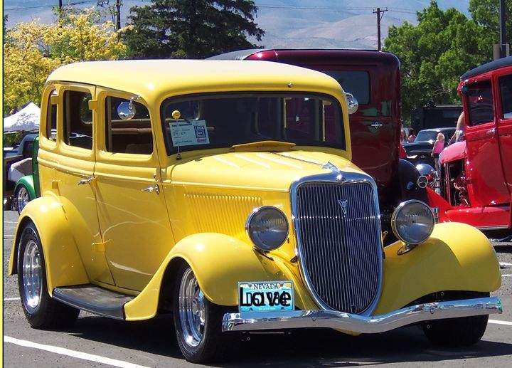 Yellow Classic Car - Bobbee Rickard Art & Photography