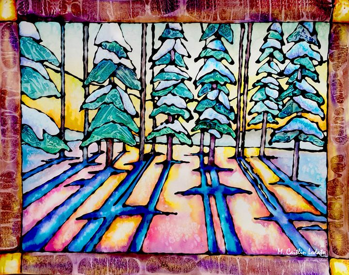 Winter Watercolor Stained Glass - Hazy Moon Studios