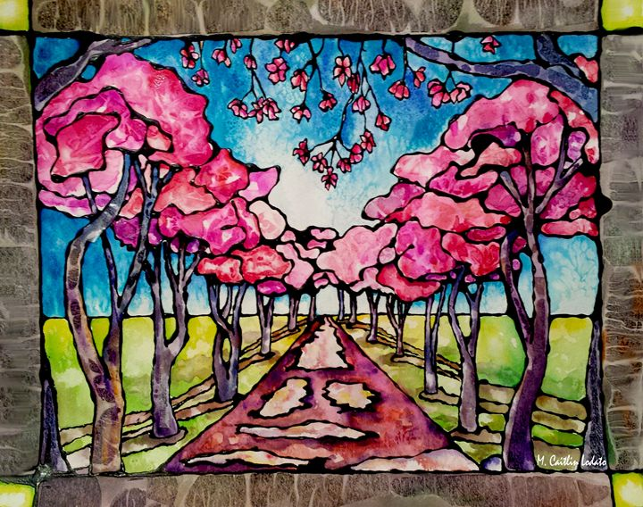 Cherry Trees Watercolor Stained Glas - Hazy Moon Studios
