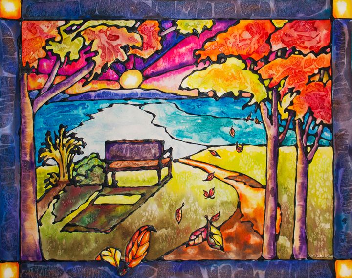 Autumn Watercolor Stained Glass - Hazy Moon Studios