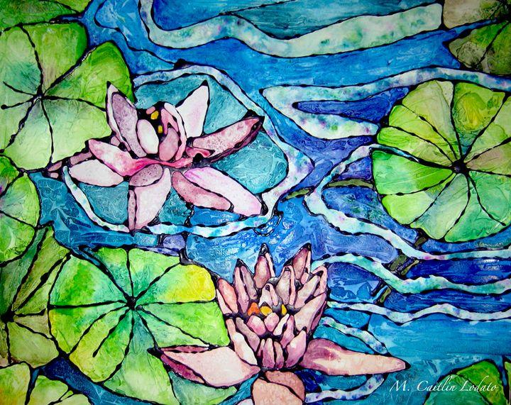 Water Lillies Pink Watercolor - Hazy Moon Studios