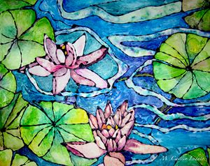 Water Lillies Pink Watercolor