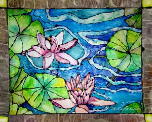 Water Lillies Staind Glass Watercolo