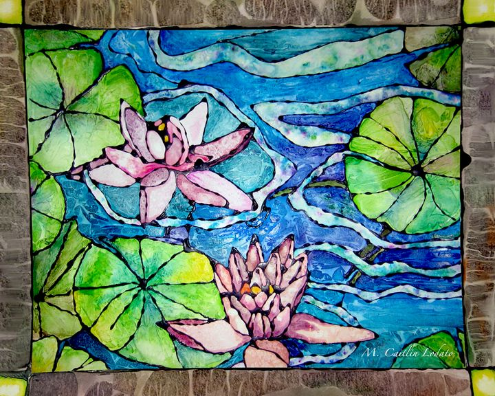 Water Lillies Staind Glass Watercolo - Hazy Moon Studios