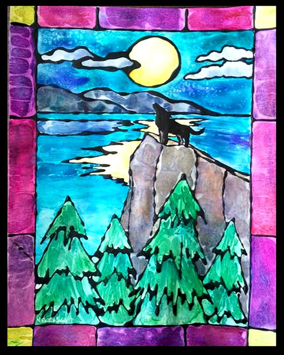 Lone Wolf Stained Glass Watercolor Hazy Moon Studios