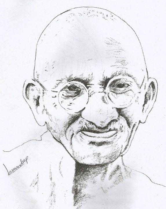 mahatma gandhi sketch - LAXMAN DEEP